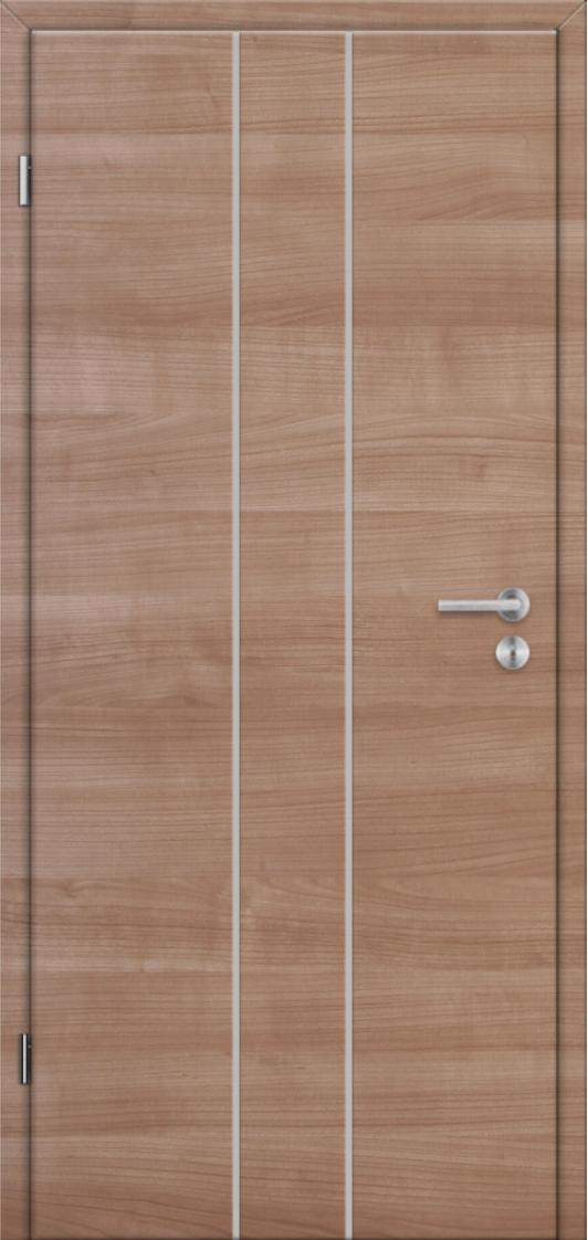 Dveře Lipbled L1 Třešeň hnědá, vsazené nerezové pásky