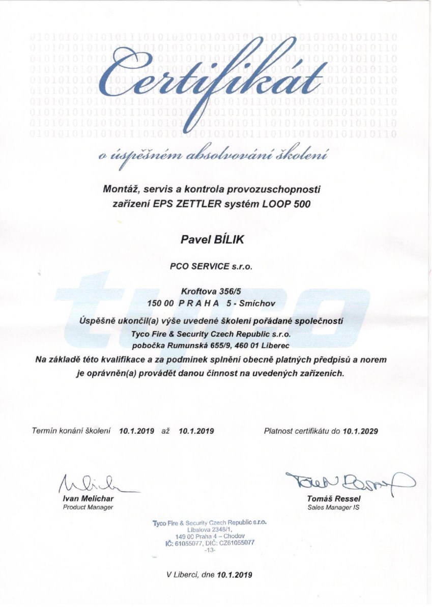 Certifikát EPS ZETTLER systém LOOP 500