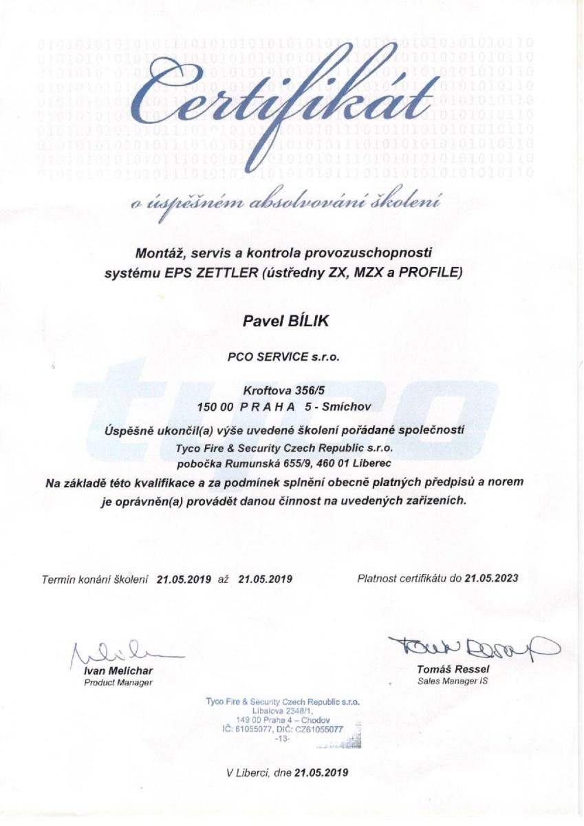 Certifikát EPS ZETTLER