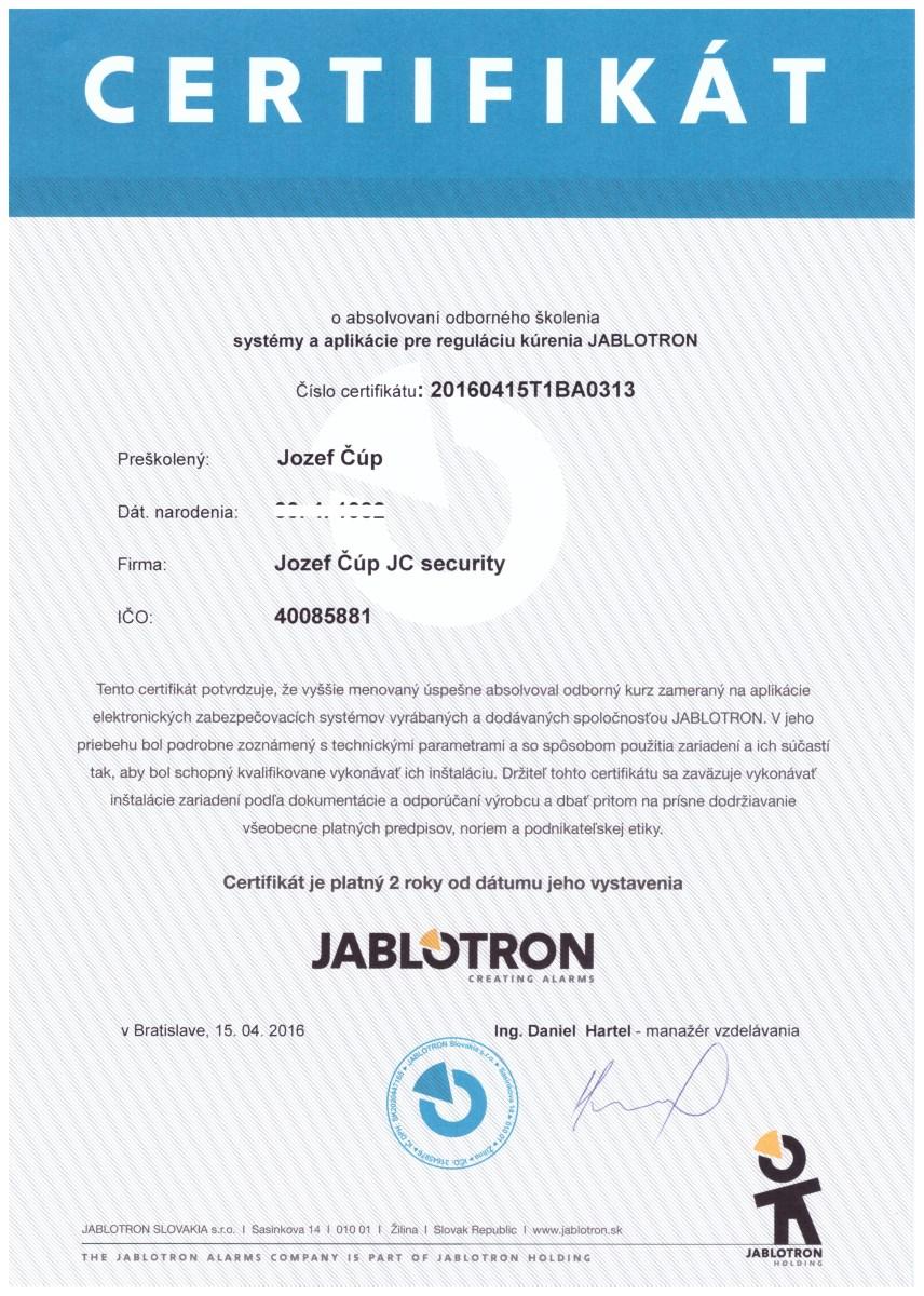 Certifikát kúrenie