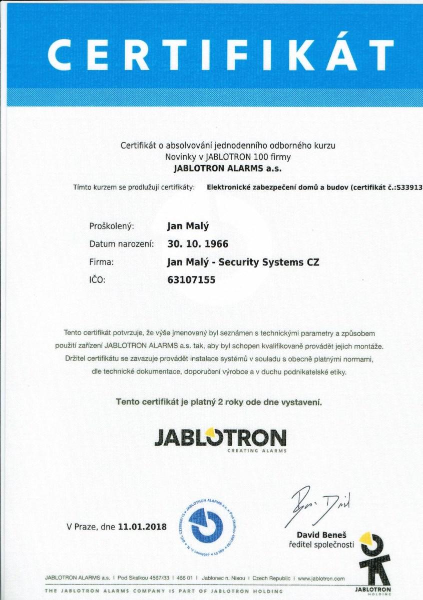 Certifikát Jan Malý