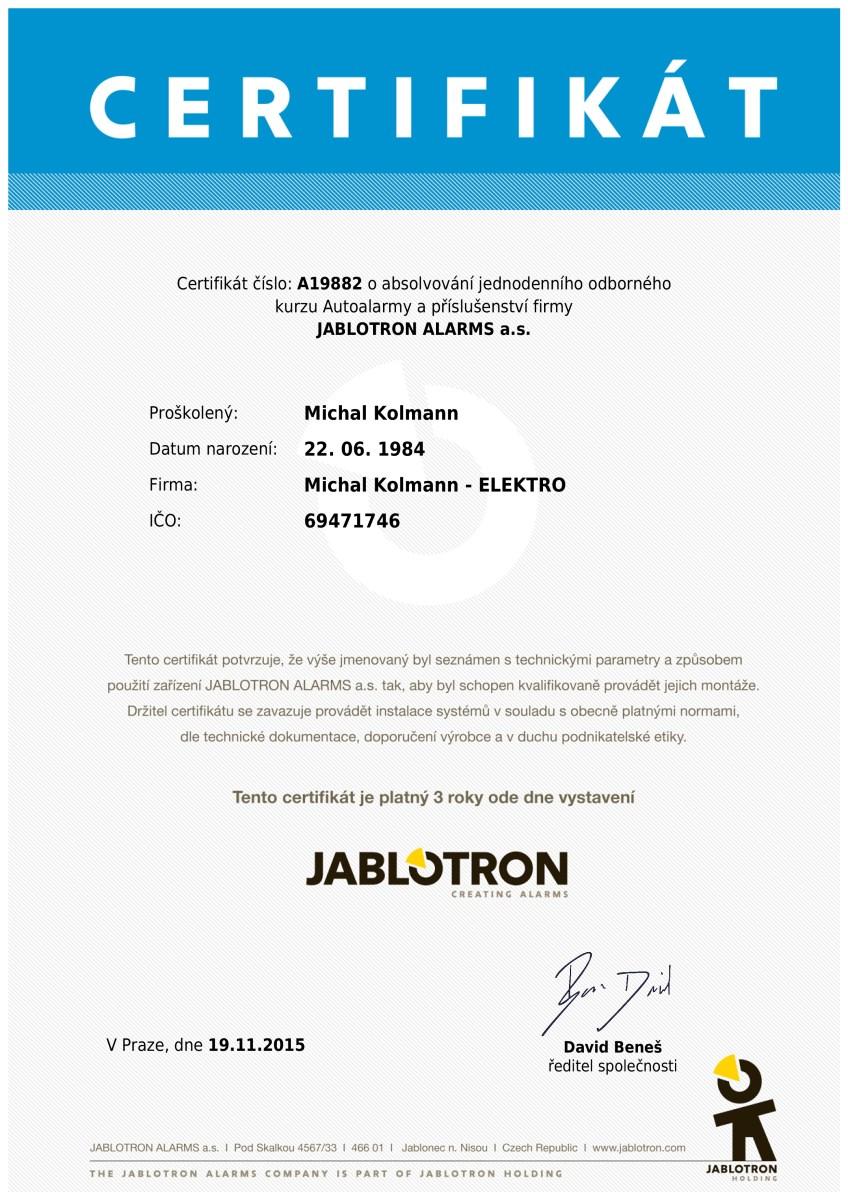 Certifikát ke kurzu Autoalarmy a příslušenství firmy Jablotron