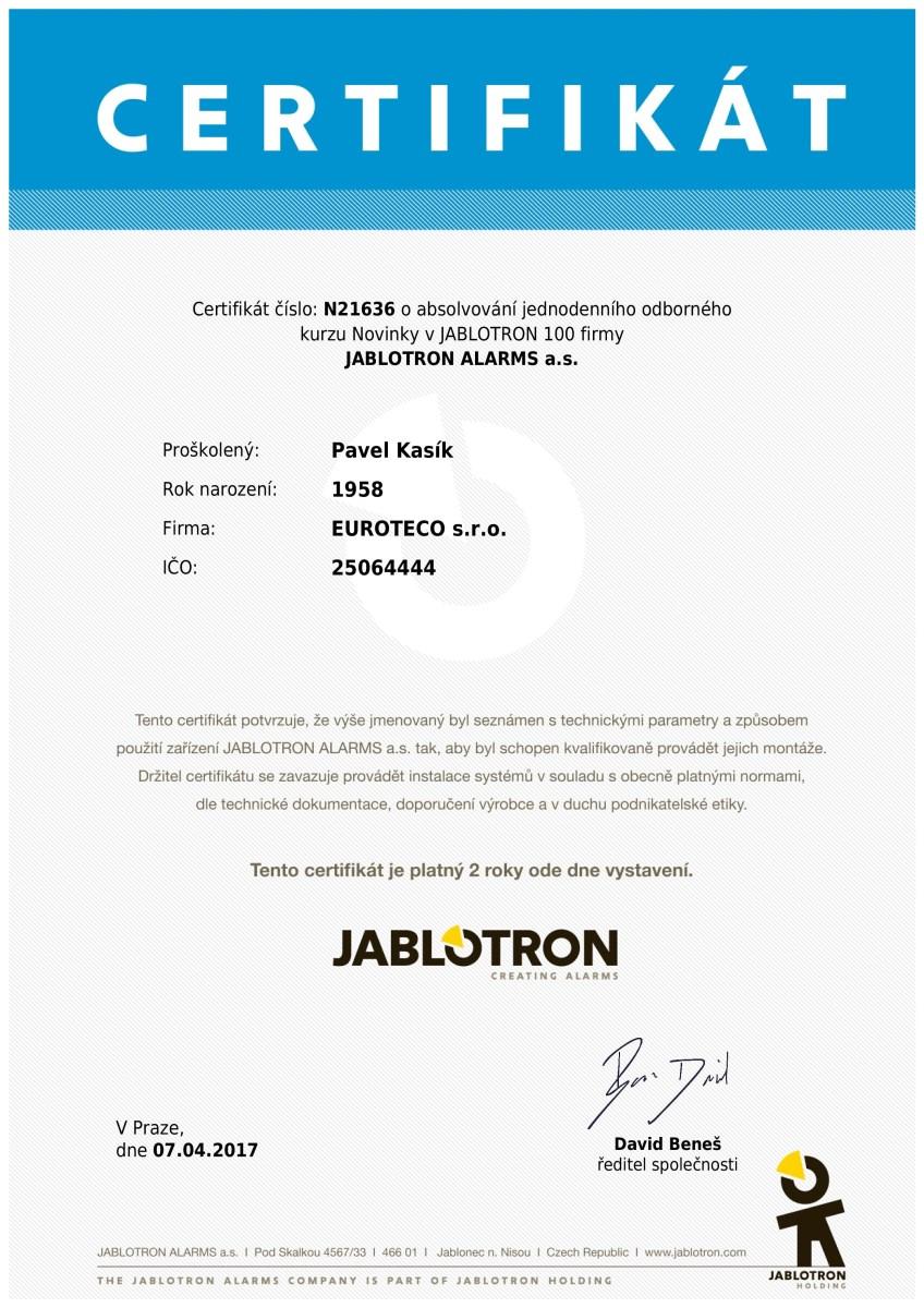 Certifikát Kasík