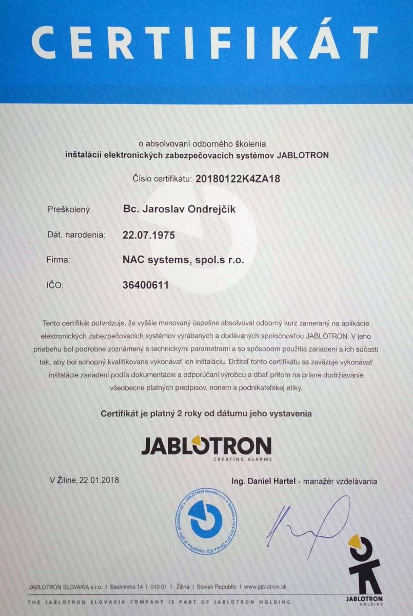 Certifikát NAC systems