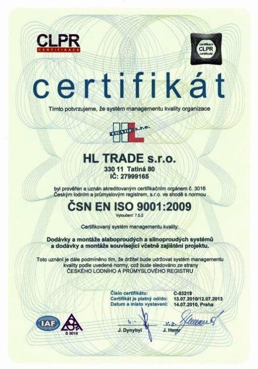 certifikace podle ČSN EN ISO 9001 : 2009