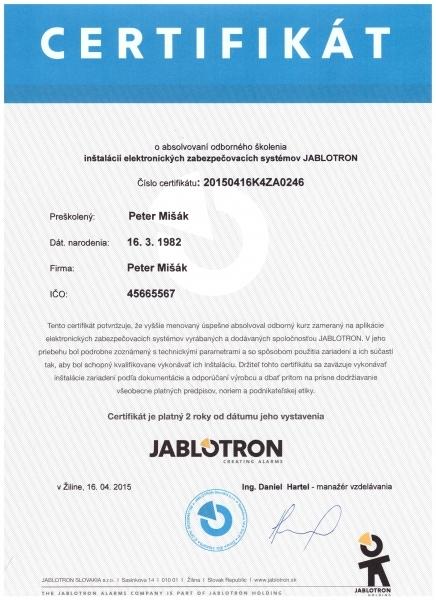Certifikát JT