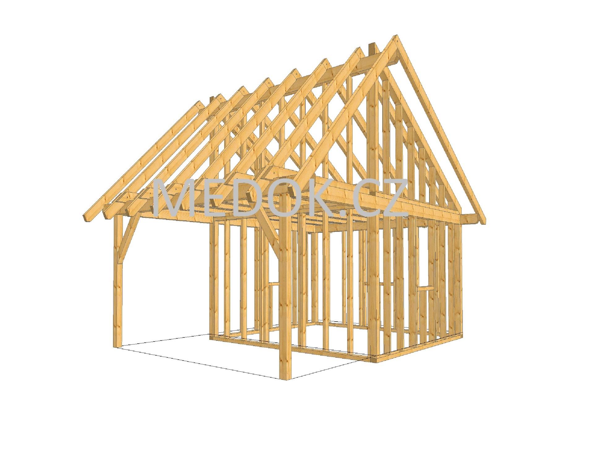 dřevěná konstrukce domku