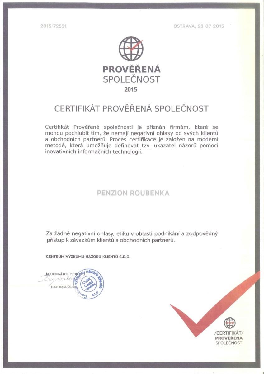 certifikát prověřené splečnosti