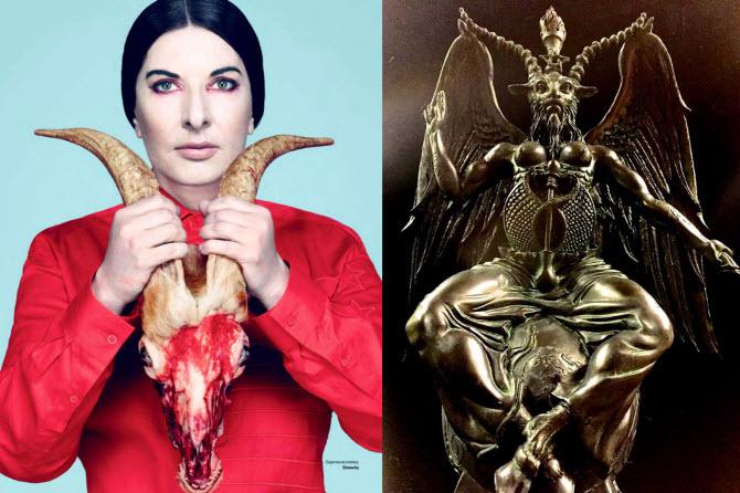 """Podestův bratr Tony má ve svém domě dokonce nad schody skulpturu s odseknutou hlavou. Známá je fotografie Mariny Abramovič s hlavou """"Bafometa"""" v rukách, tedy s kozlí hlavou, která symbolizuje Satana."""