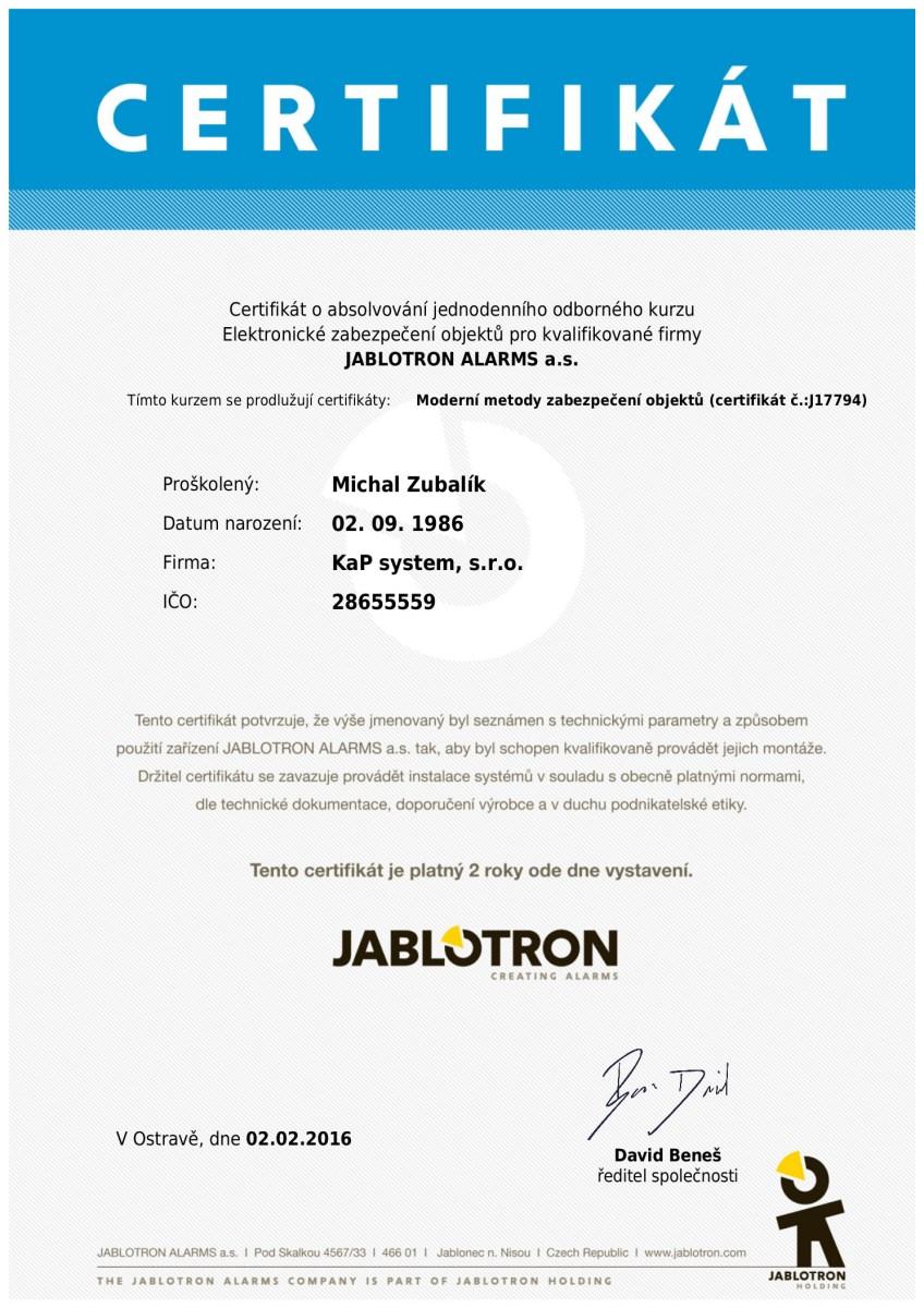 KaP System certifikát Jablotron