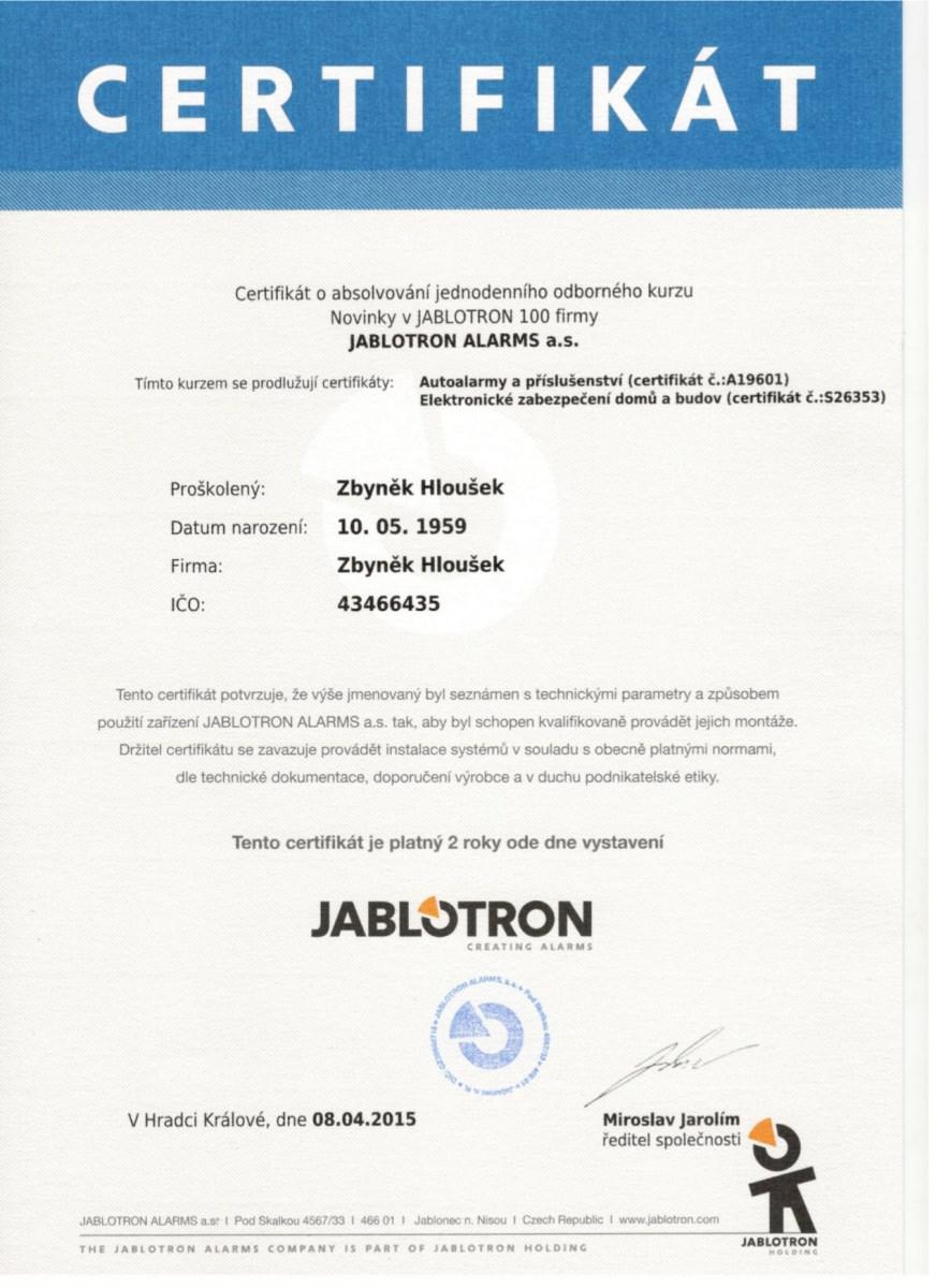 Jablotron certifikát Zbyněk Hloušek