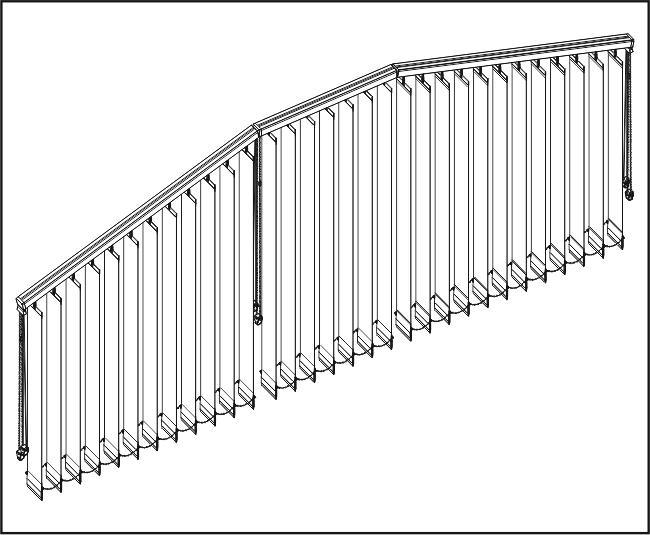 Vertikální žaluzie - Dvě šikmé a rovné zařízení / 1x s přesahem lamel