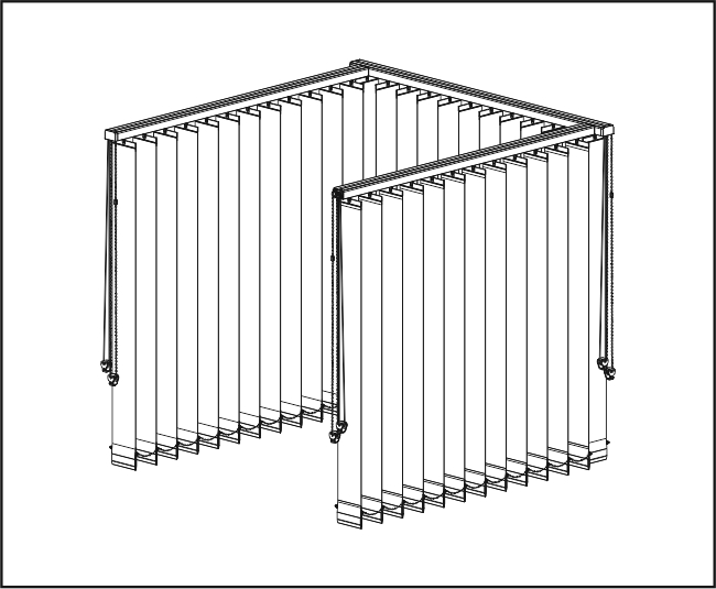 Vertikální žaluzie - Tři rovné zařízení / dvě rohové