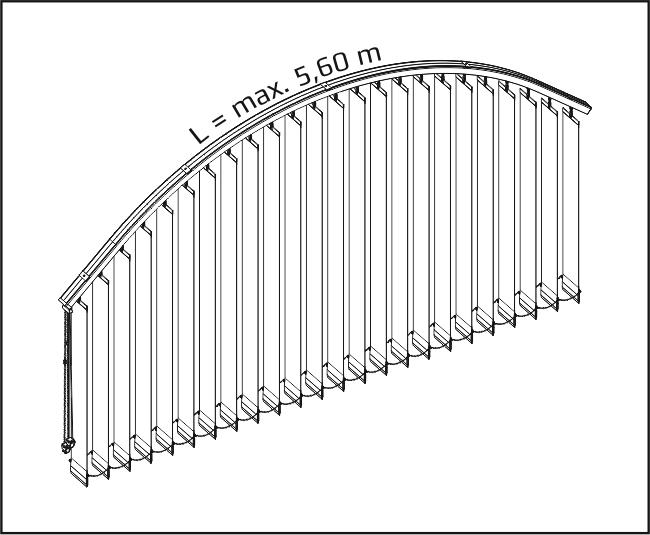 Vertikální žaluzie - Vertikálně obloukové zařízení / + dvě roviny
