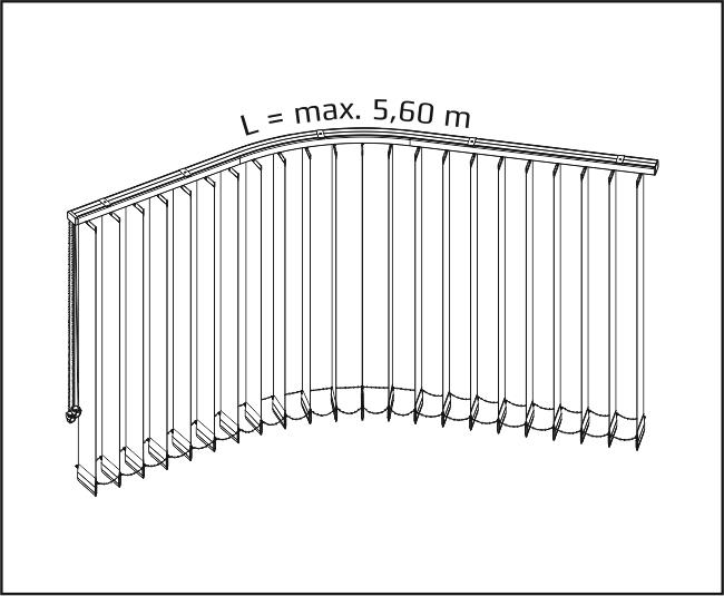 Vertikální žaluzie - Horizontálně obloukové zařízení / + dvě roviny