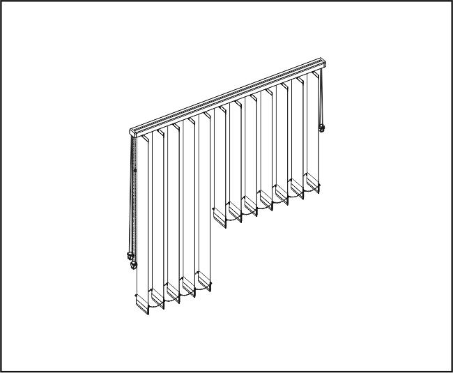 Vertikální žaluzie - Rovné zařízení / dvě ovládání a výšky lamel