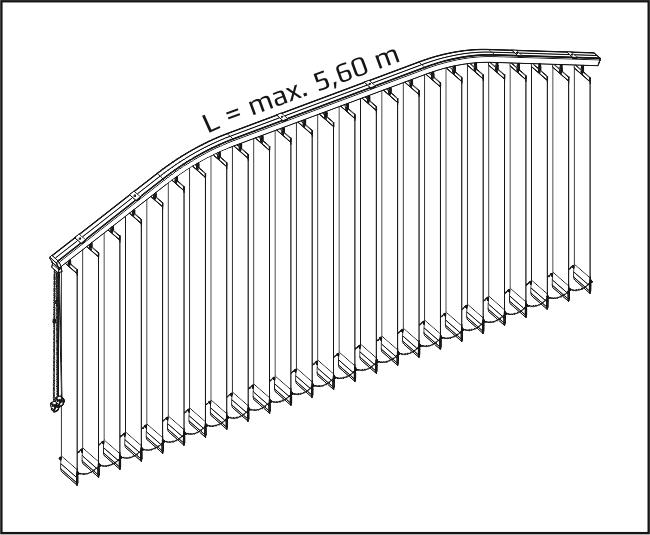 Vertikální žaluzie - Vertikálně obloukové zařízení / dva oblouky + tři roviny