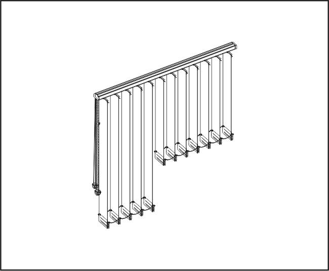Vertikální žaluzie - Rovné zařízení / dvě výšky lamel