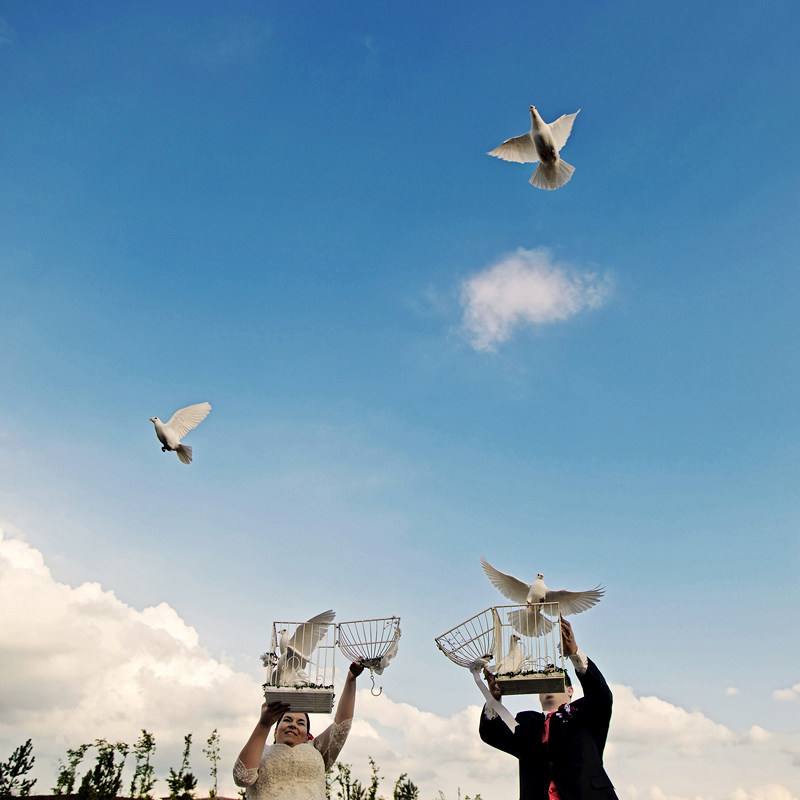 wedding doves release by just married couple