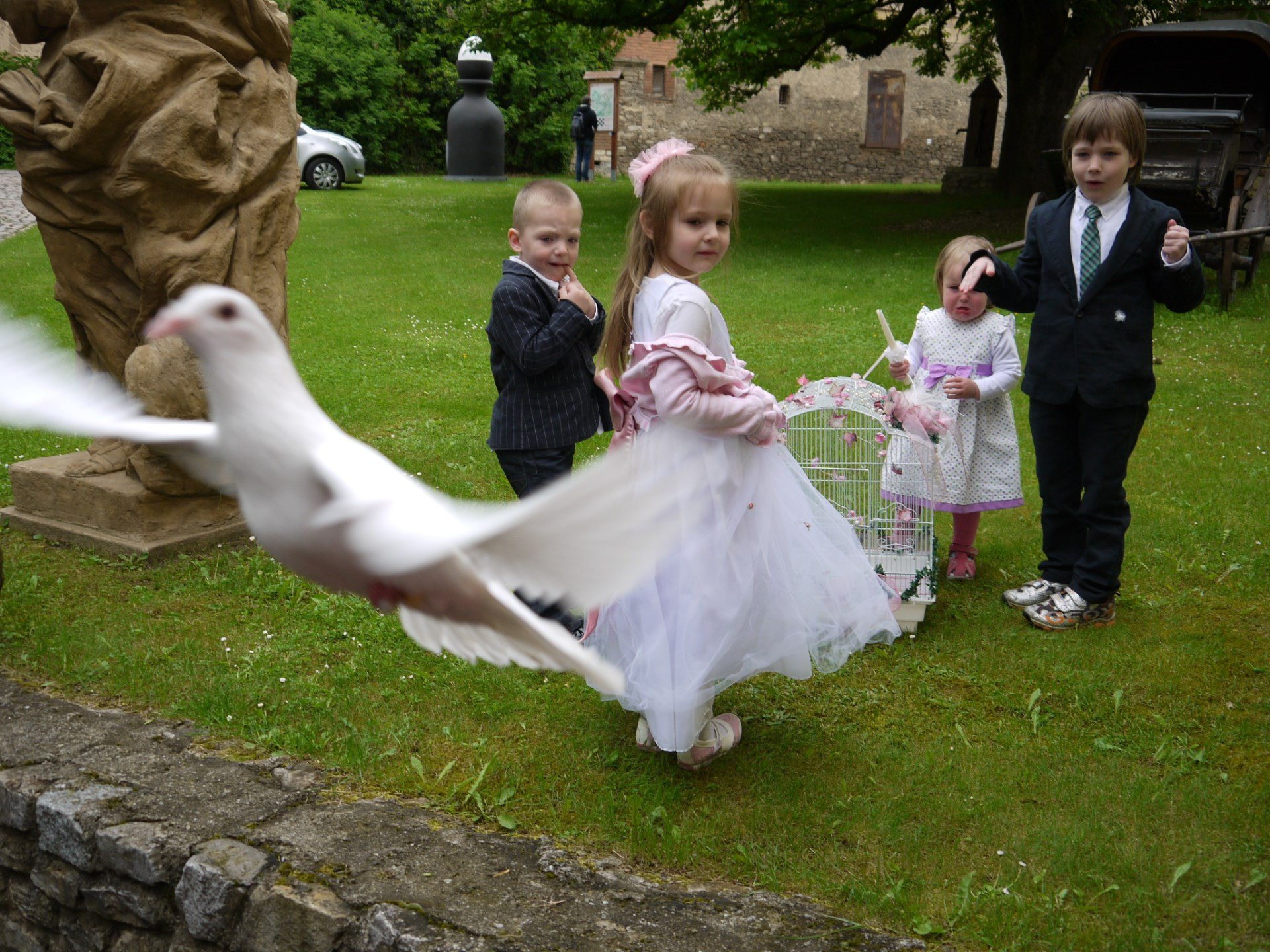 kids playing around wedding doves