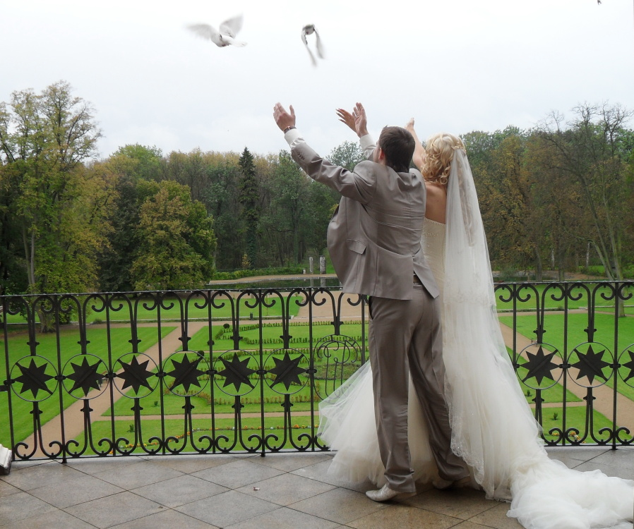 wedding doves release by newly married couple