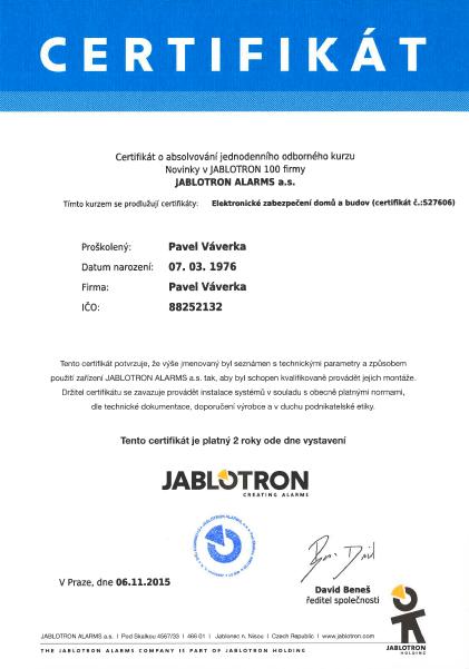 Certifikát - PV elektronické systémy Písek