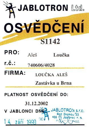 1999 - certifikát Jablotron