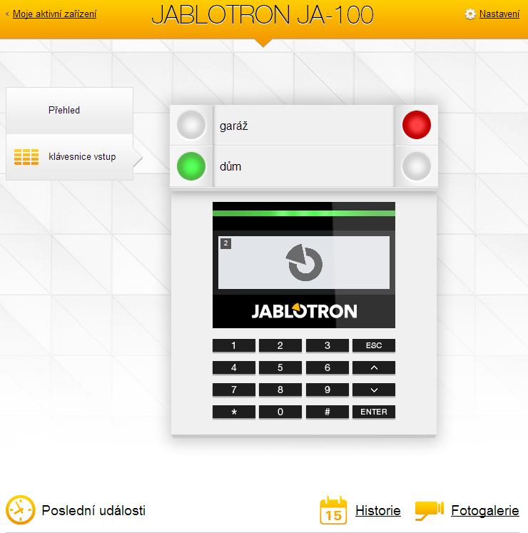 webová aplikace pro alarmy Jablotron