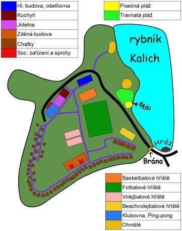 Mapa letního tábora Kalich