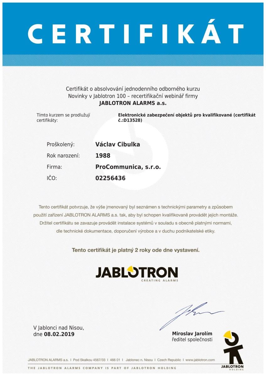 certifikát Václav Cibulka