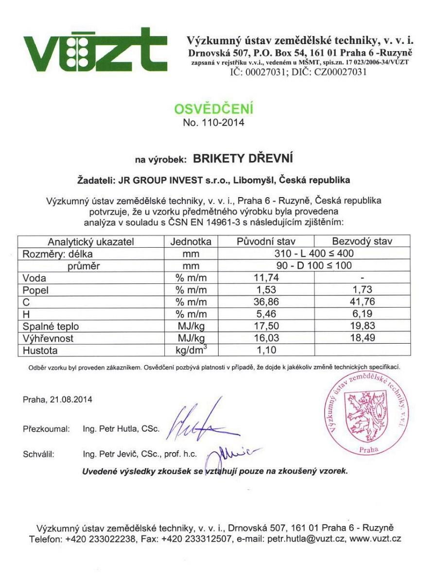 certifikát - briketa