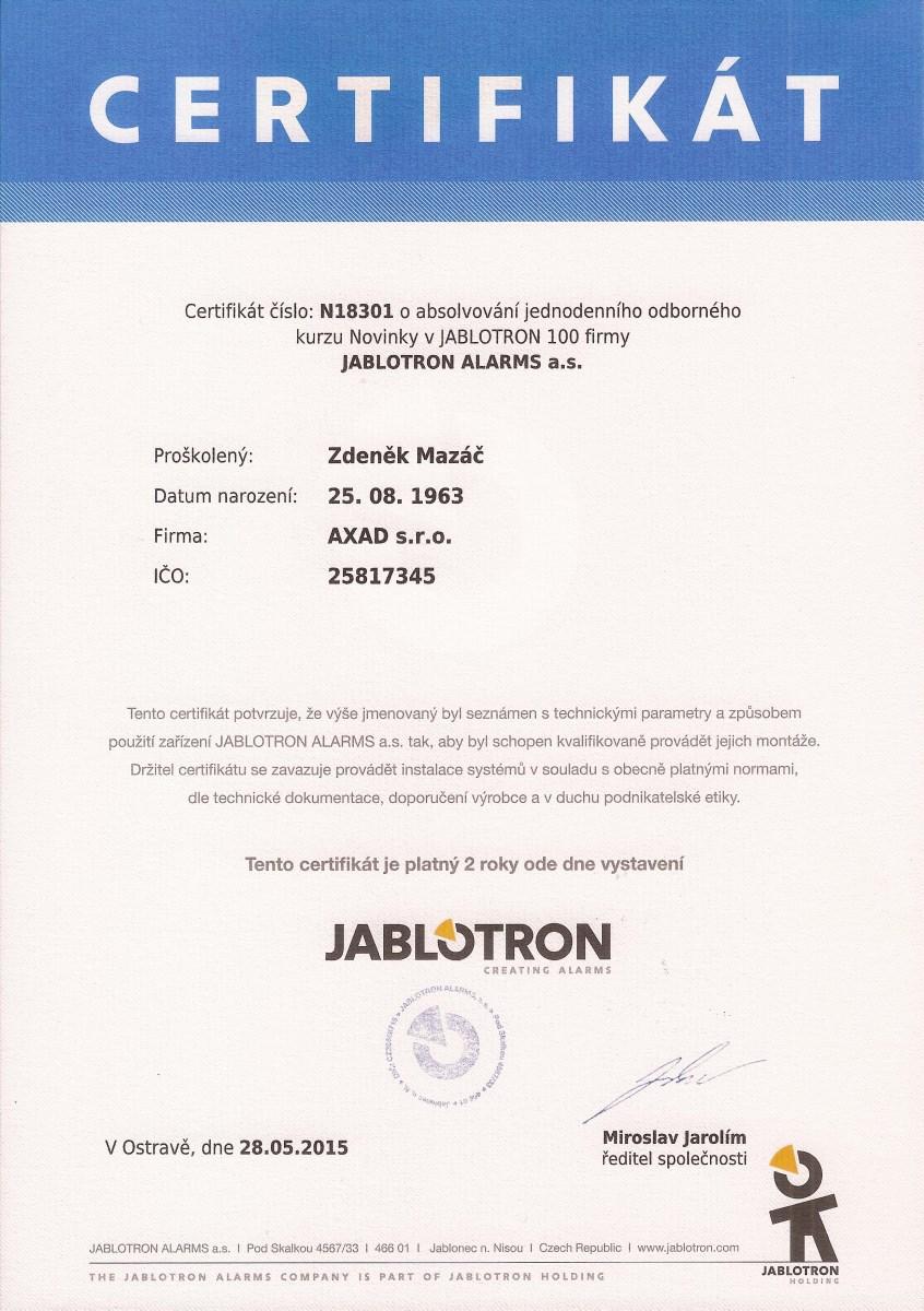 certifikát AXAD s.r.o.