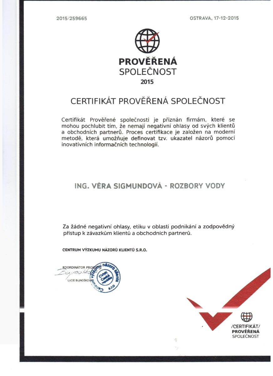 certifikát Věra Sigmundová