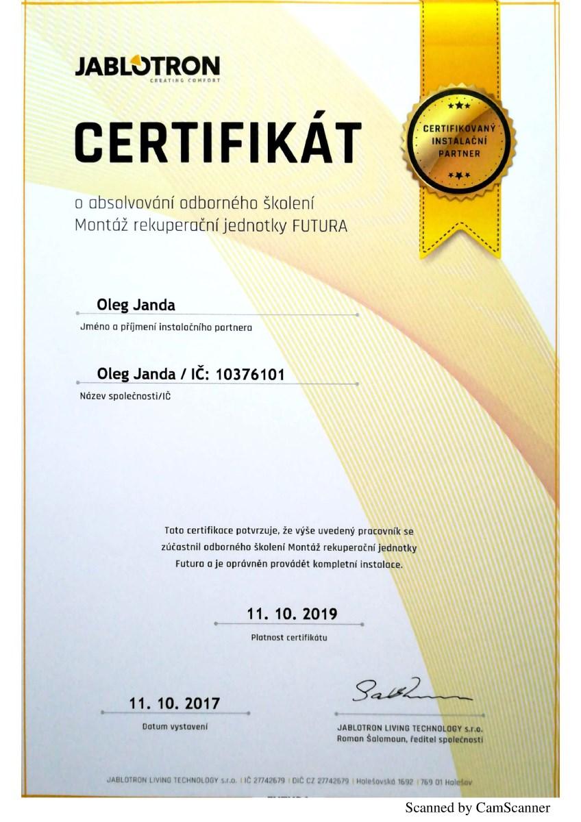 certifikát futura