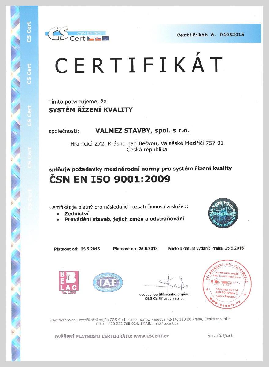 Certifikát Valmez stavby