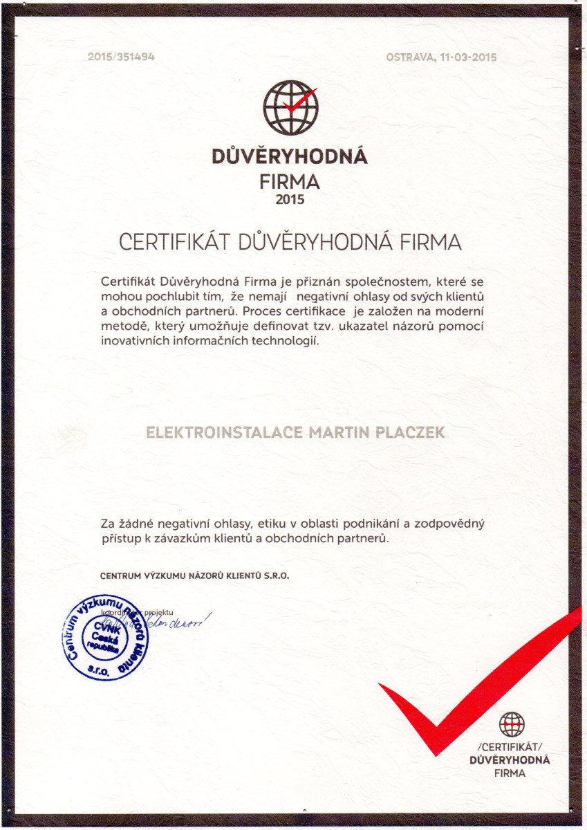 Certifikát důvěryhodná firma - Placzek