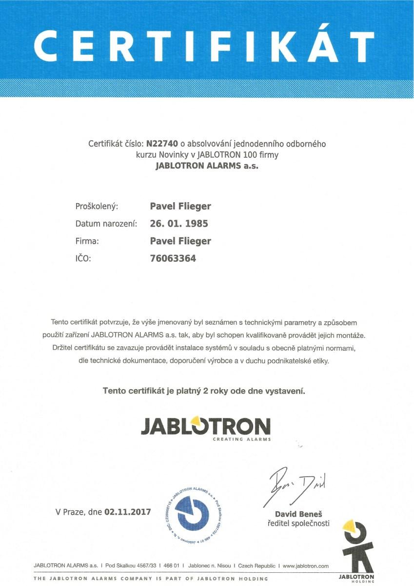 certifikát Pavel Flieger