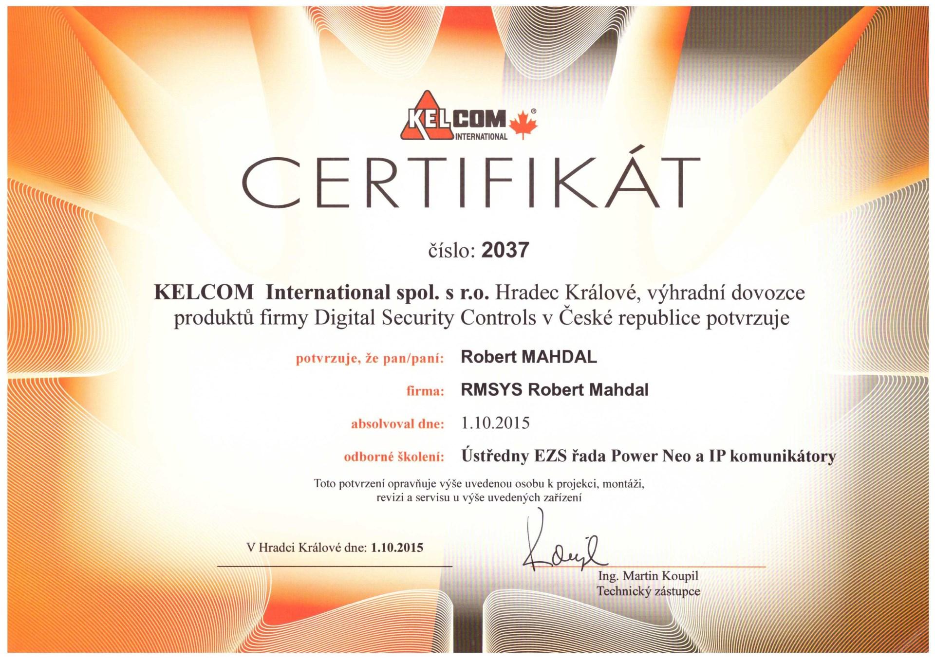 certifikát Kelcom