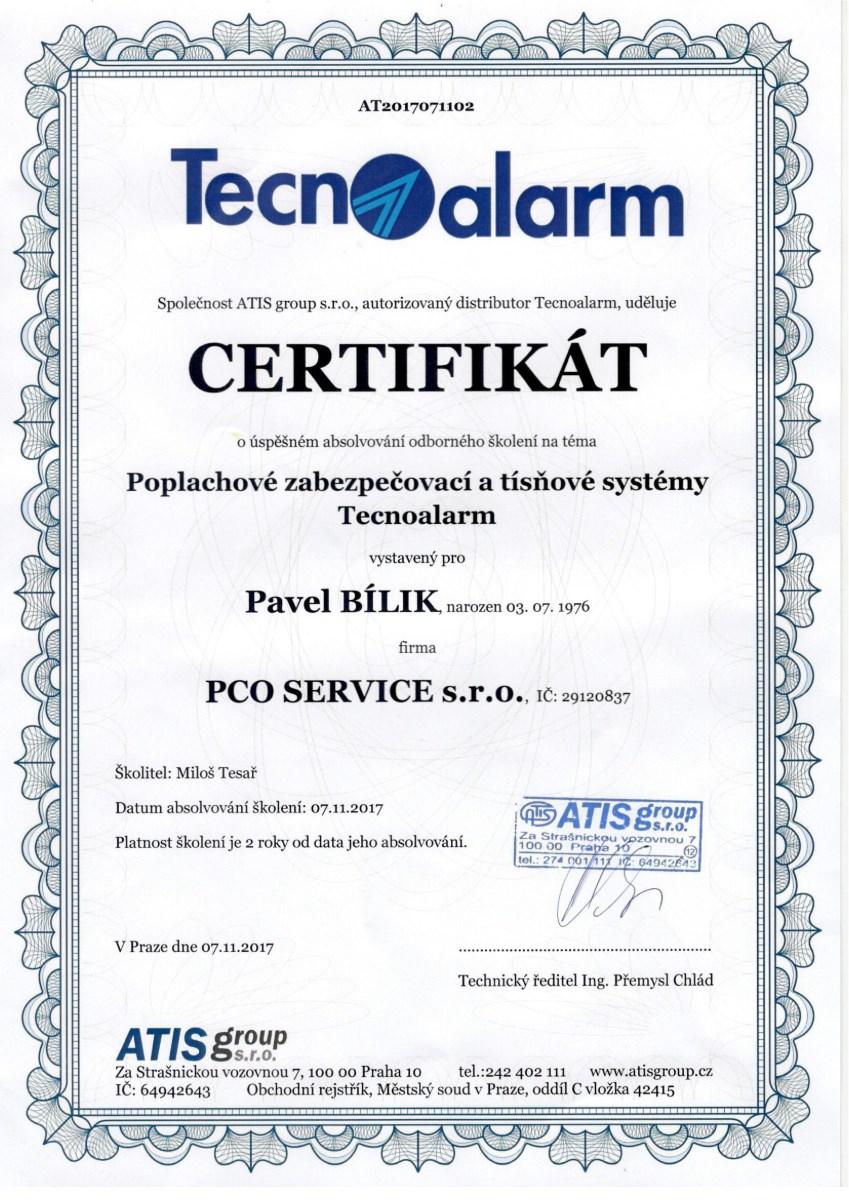 Technoalarm - certifikát
