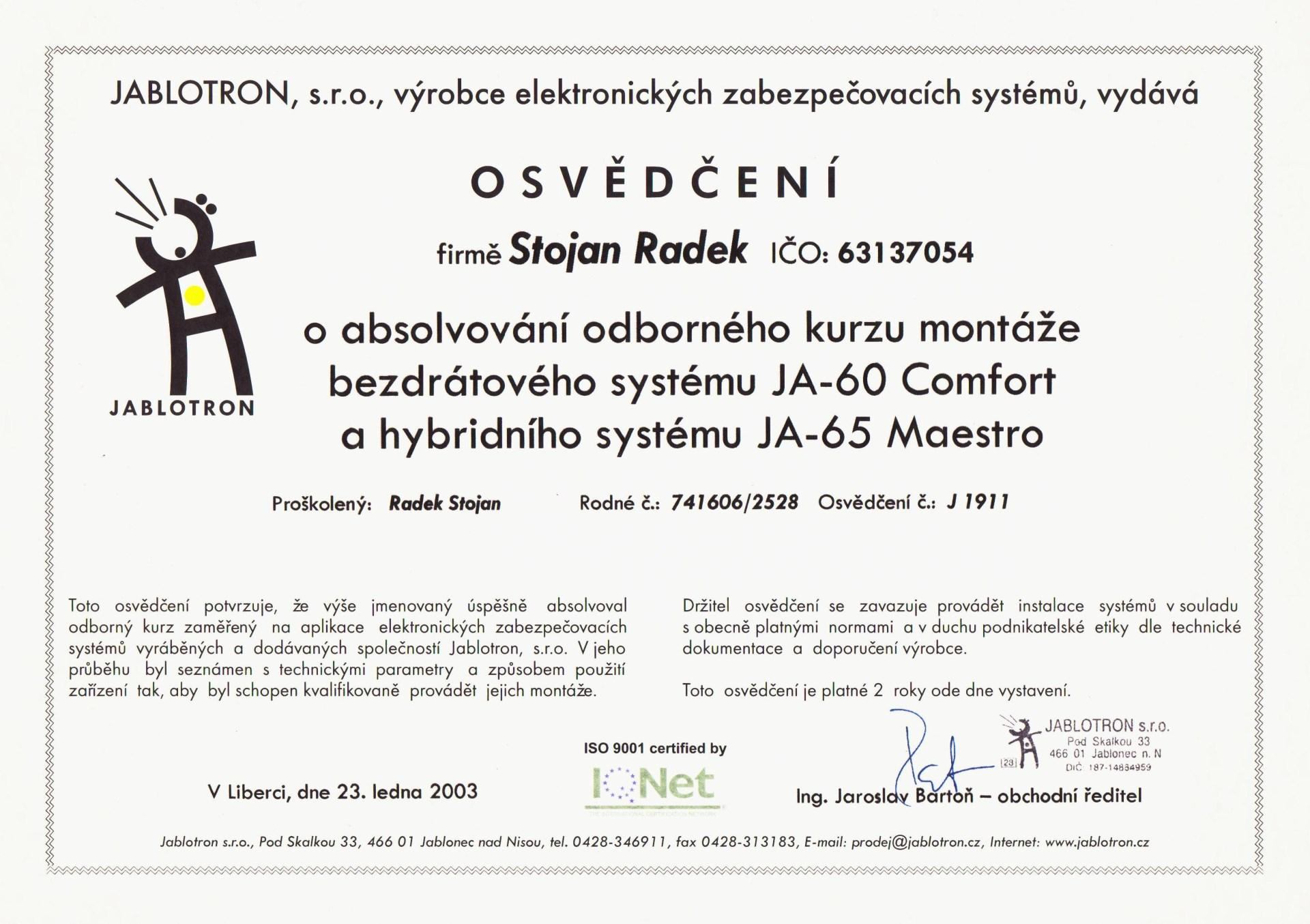 Osvědčení Radek Stojan 2003
