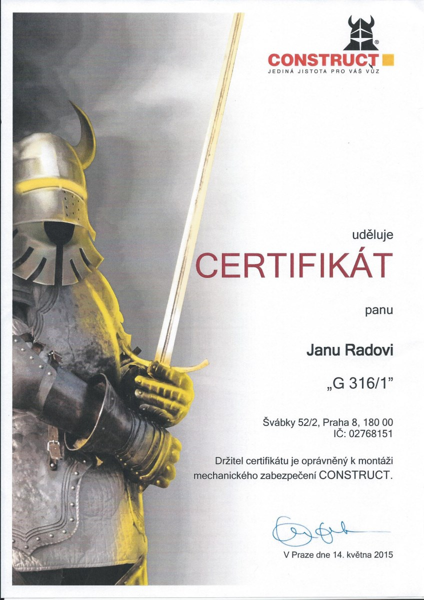 Certifikát Construkt