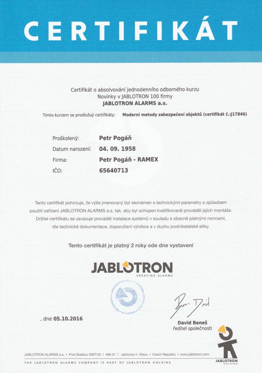 Certifikát Petr Pogáň