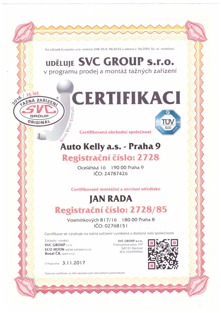 SVC Group certifikát