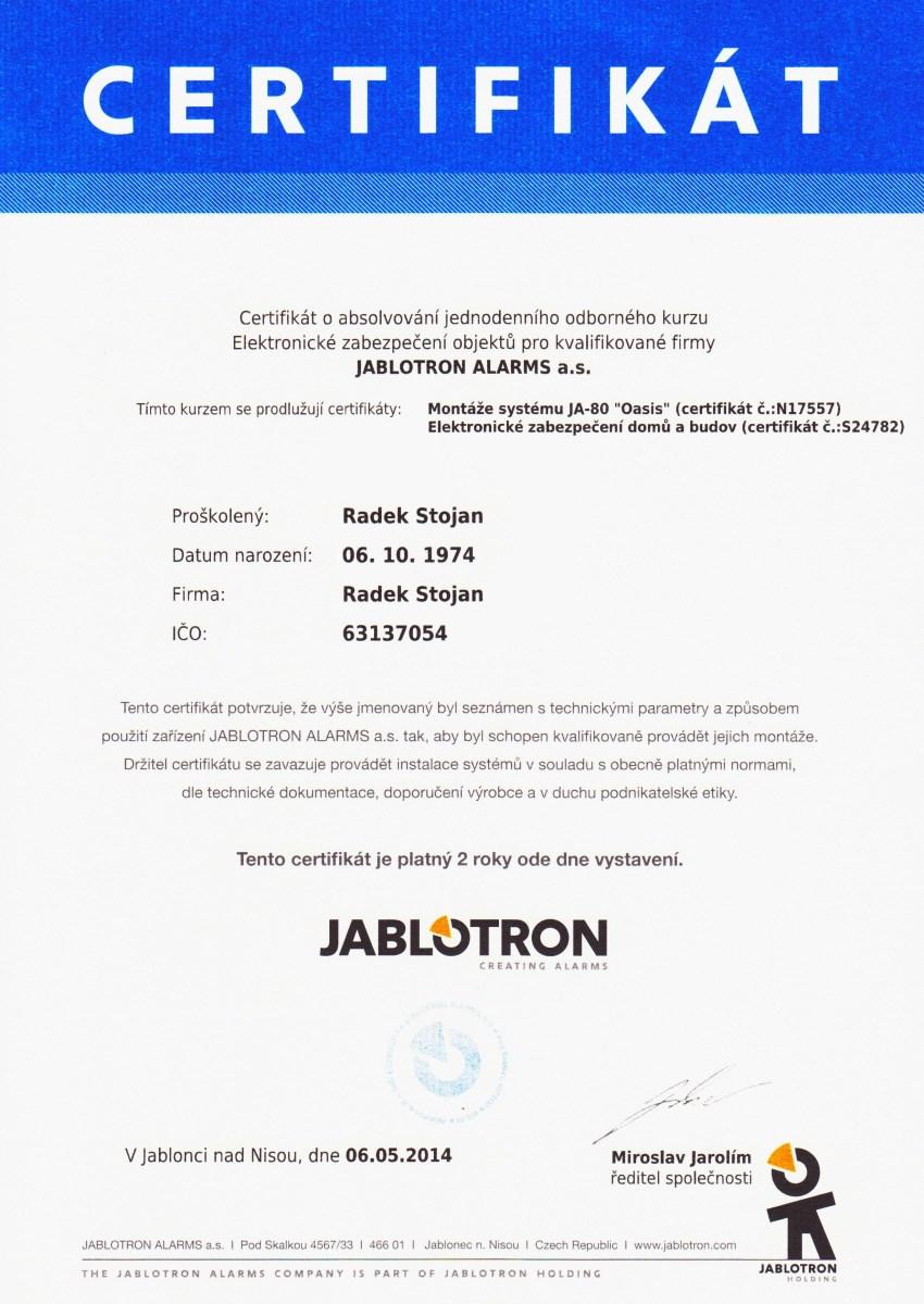 Radek Stojan, Certifikát 2014