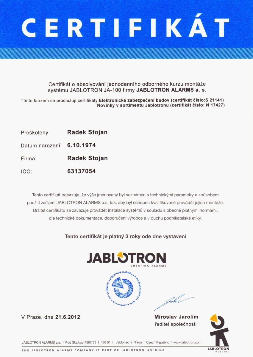 Radek Stojan, Certifikát 2012