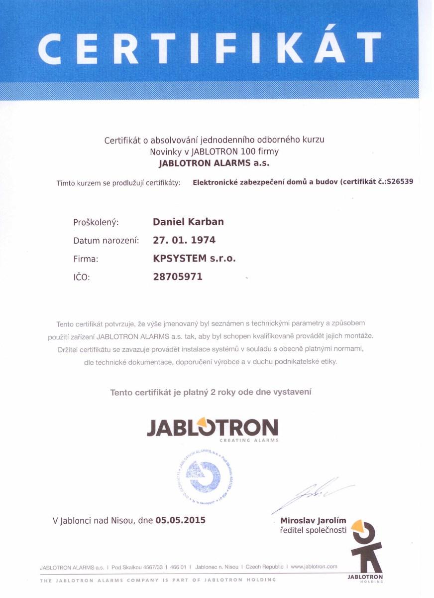 Certifikát KPSYSTEM