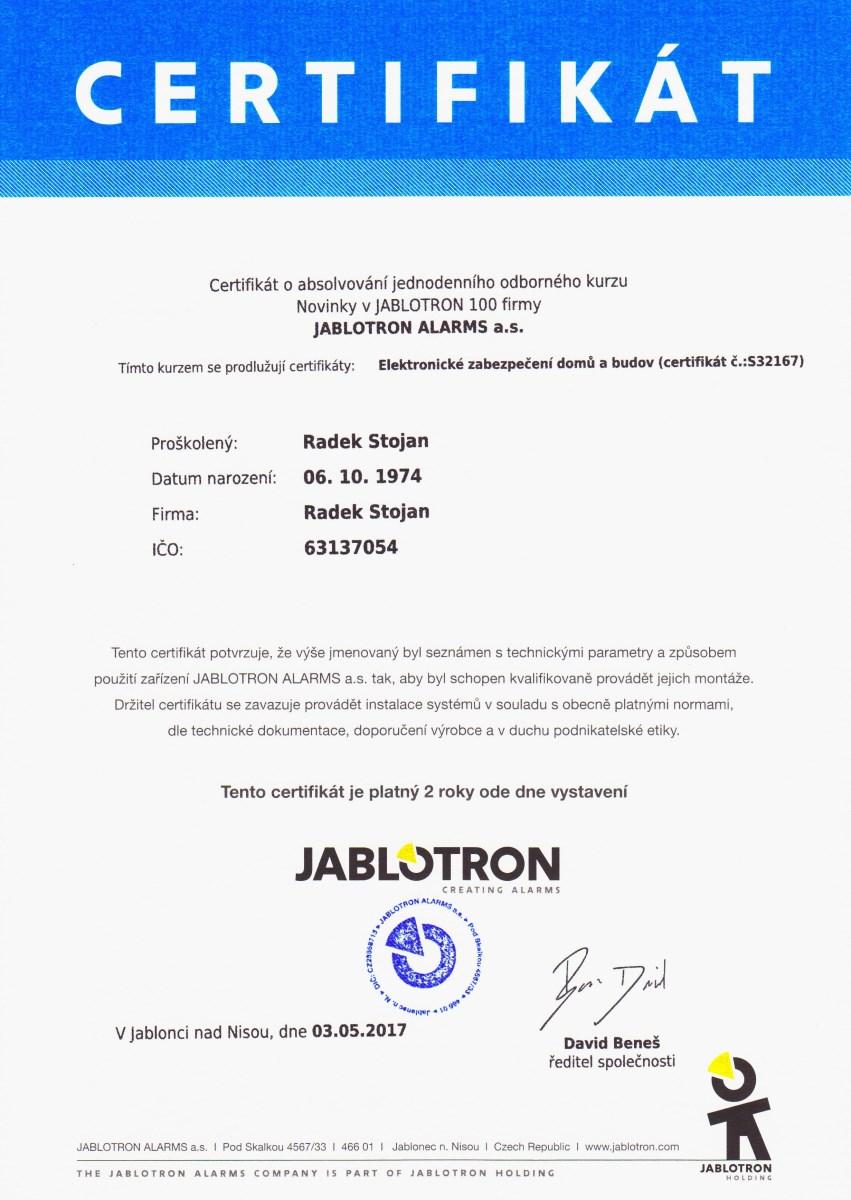 Radek Stojan, Certifikát 2017