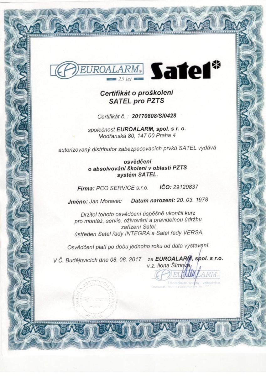 Satel certifikát