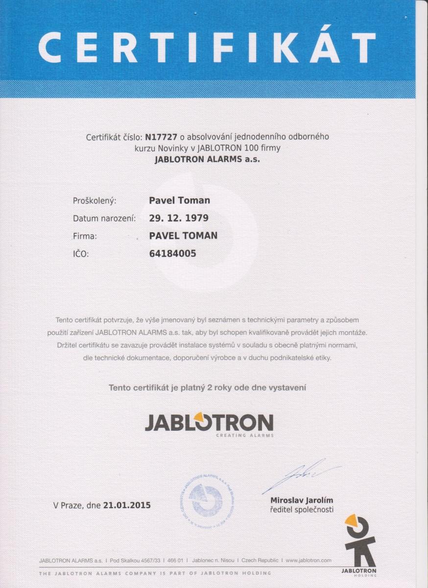 Certifikát Pavel Toman