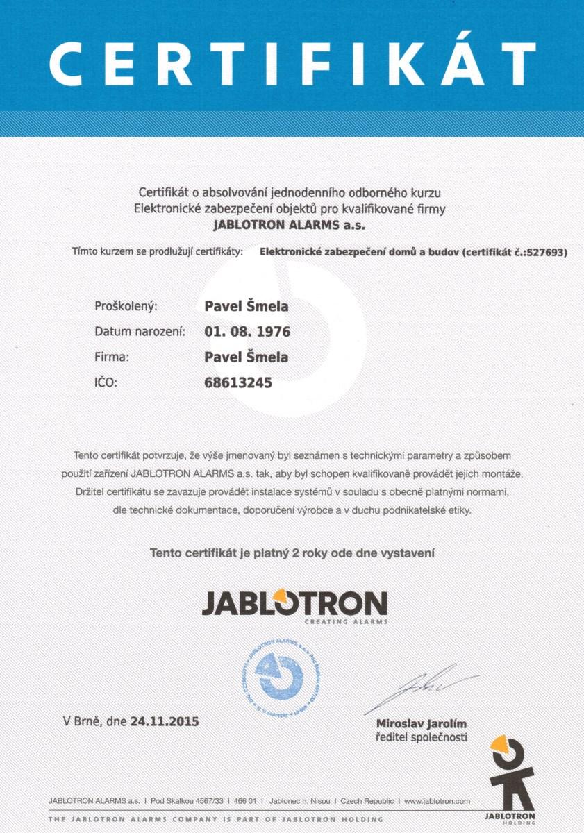 Jablotron certifikát